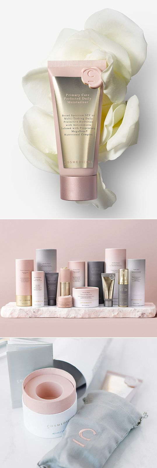 A beautiful packaging range with a lovely arrangement to communicate the softness and exclusive character of the products...