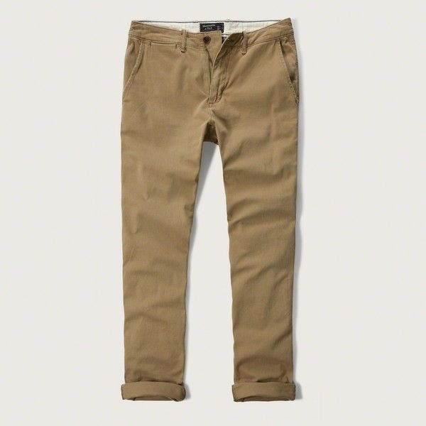 Abercrombie & Fitch Skinny Chinos ($68) ❤ liked on Polyvore featuring men's fashion, men's clothing, men's pants, men's casual pants and khaki