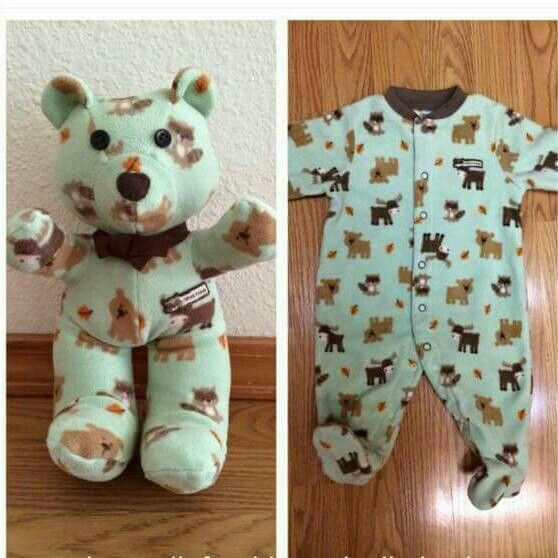 Turning your babies first onesie into a teddy bear Im not sure who made this exactly but this is such a cute/amazing idea, I will definetly be doing this!! #baby #teddybear #onesie #toddler #newborn #adorable #amazing #diy #love