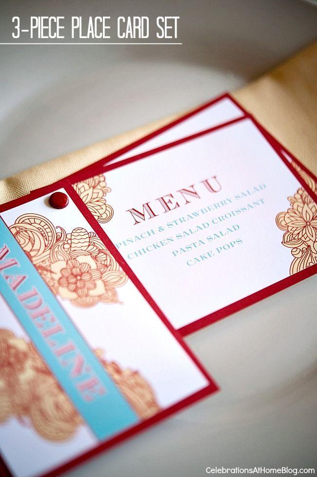craft ideas for wedding place cards%0A DIY    Piece Place Card Set