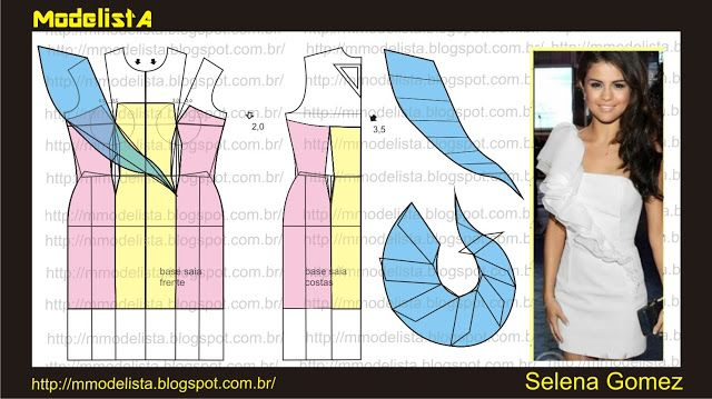 Modelagem de vestido tomara que caia com detalhe imitando alça em jabô Selena Gomez. ModelistA: VESTIDOS DE FESTAS