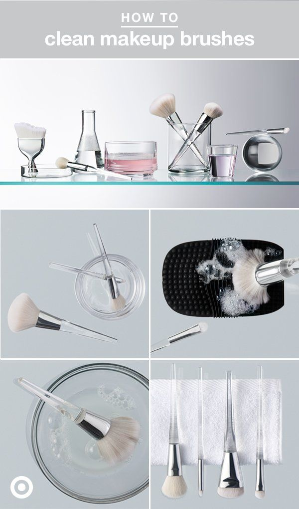 Cleaning your makeup brushes might not be at the top of your priorities list...but it should be! Allowing product to build up on brush bristles can wreck their function & wreak havoc on your skin. Giving your tools a little love & attention on the regular is easier than you think: 1. Soak the bristles, 2. Lather with soap, 3. Rinse & repeat, 4. Wring & reshape, 5. Dry. Done!