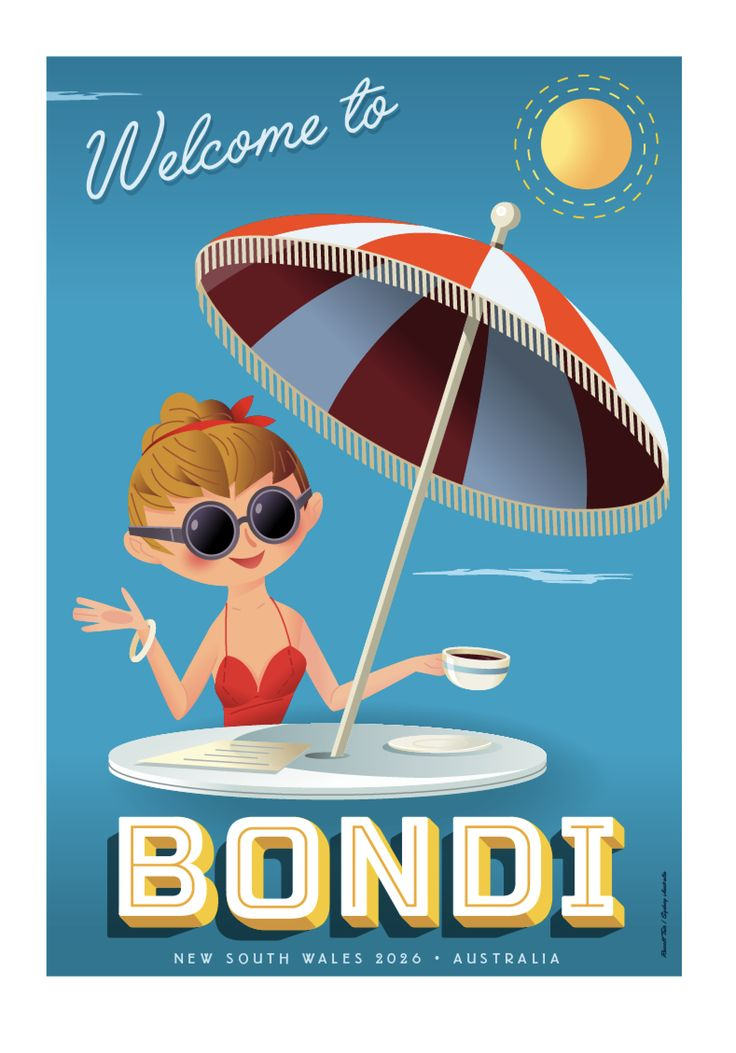 """""""Welcome to Bondi""""  Travel poster 70 x 100cm available from: info@russelltate.com #russelltate"""