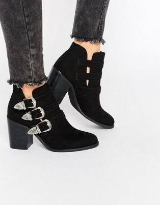 Lost Ink Ardell Western Heeled Ankle Boots
