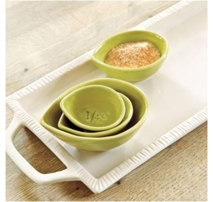 love the soft green of this set of hand-thrown nesting cups. Use them traditionally or to keep ingredients on hand while cooking.
