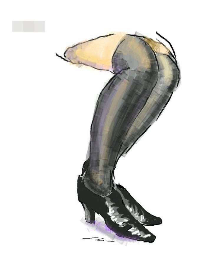 It is a sketch of black shoes and black stockings.  I drew while commuting on a train with the GALAXY Note.