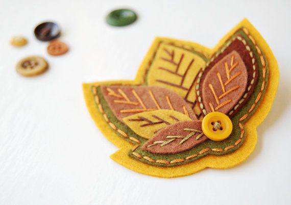 Autumn Leaves Brooch by SewSweetStitches on Etsy, $18.00