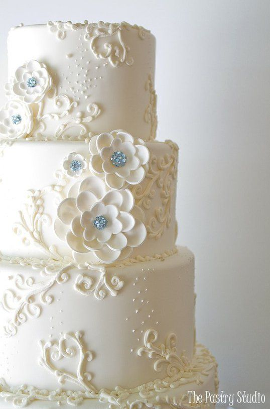 Nice simple wedding cake - pretty scroll work - A Glamorous Wedding Cake with hand made sugar-paste flowers using Swarovski Crystals in teal.