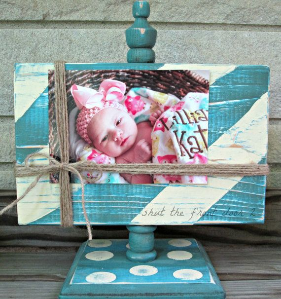 Painted wood picture frame, blue cream striped picture frame, shabby chic frame, distressed picture frame