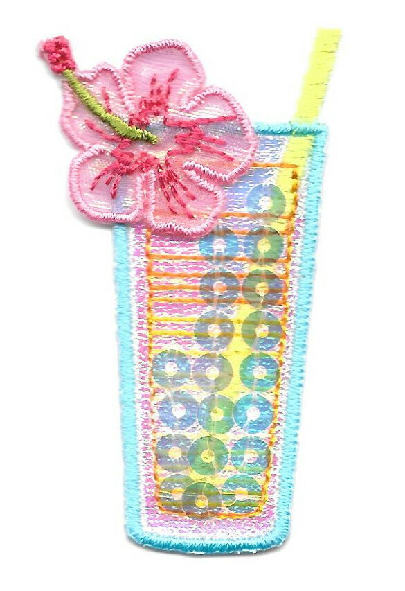 Cocktail Embroidered Iron On Applique Patch B Tropical Drink- Celebration