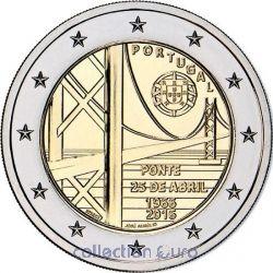 Moeda 2 Euros Comemorativa Portugal 2016 - 50º aniversário da primeira ponte a unir as duas margens do rio Tejo