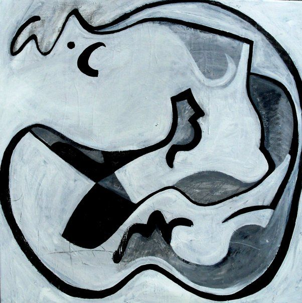 "Lovers in union 2009 acrylic and emulsion on canvas 40"" x 40"""