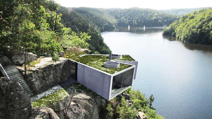 #vacation #house #rock #river #amazing #veiw #architecture #idea #nature #concrete #modern #design Architect Lucie Kratochvilova presents House on Rock