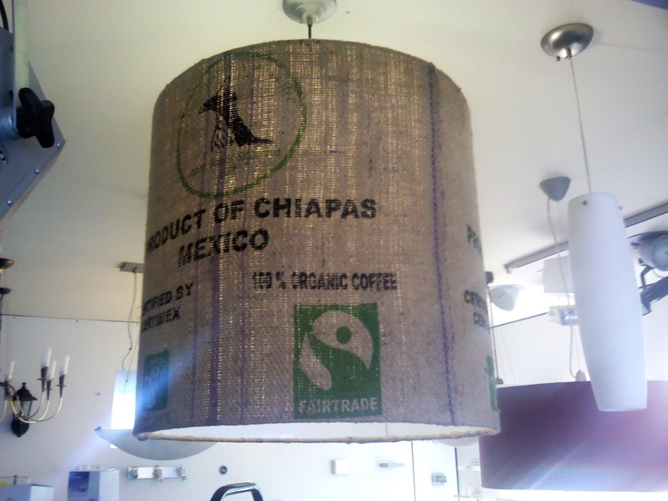 Awesome use for a used Fairtrade coffee bean sack. Makes a great lampshade.
