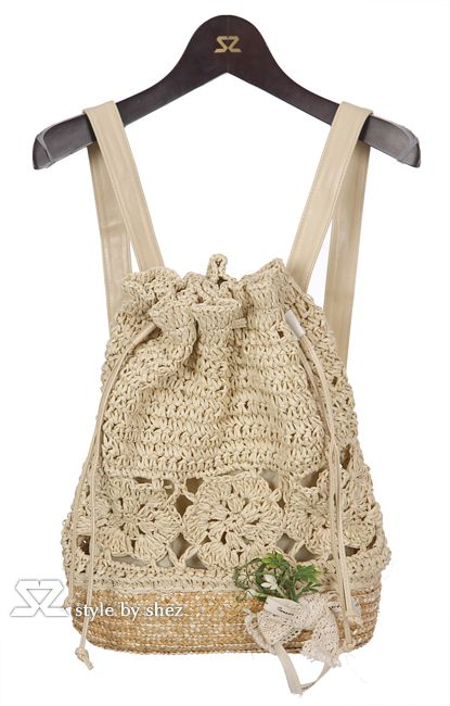 crochet bag...this looks sweet.  think of how one could make it different also...say tropical and make re-enforced straps so they do not stretch.