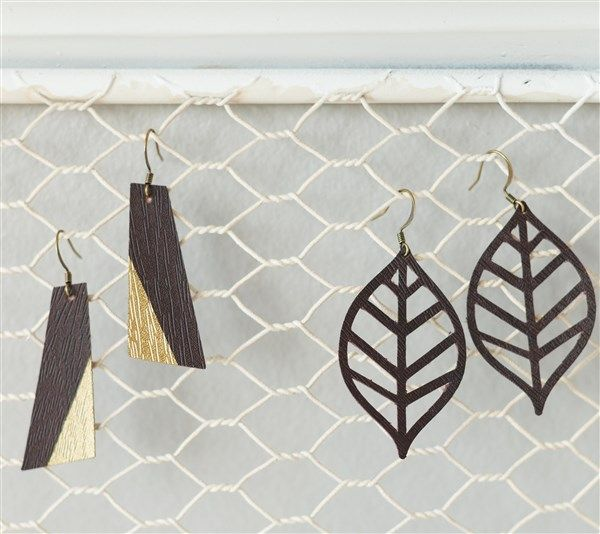 """Faux Leather Earrings  Project file includes two pairs of earrings. Finished earrings measure 1.3"""" W x 1.6"""" H. - Dezi Moss  DIY, created with a Cricut, creative earrings, make it now, make it yourself"""