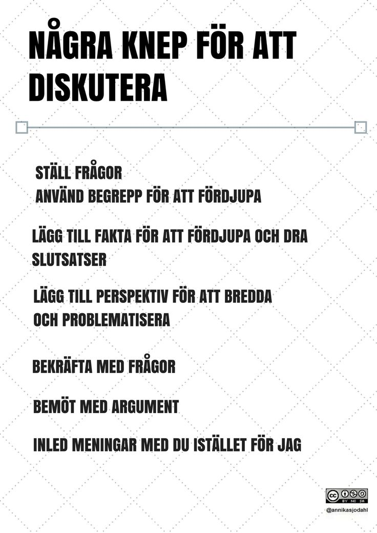 NÅGRA KNEP FÖR ATT DISKUTERA STÄLL FRÅGOR ANVÄND BEGREPP FÖR ATT FÖ...