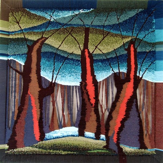 The craftsmanship is astounding!  Trees sisters/ Weaving tapestry/ Hand craft by elmiratiteyeva, $3560.00