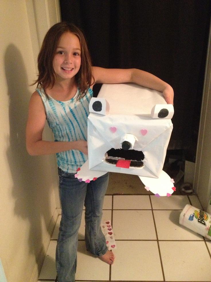Karissa With Her Polar Bear Valentines Box Holiday
