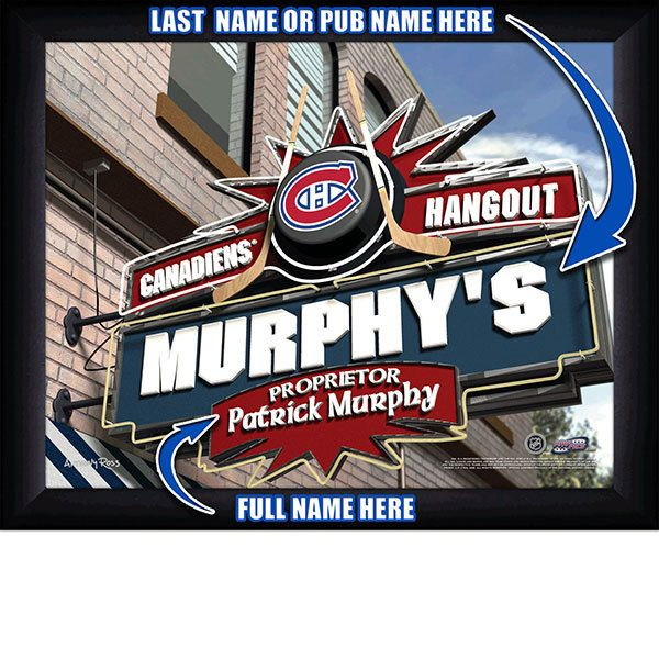 Montreal Canadiens NHL Hockey - Personalized Montreal Canadiens Pub Hangout Print / Picture. Now, with our Personalized NHL Sports Pub Hangout Print, your favorite fan can become the Proprietor of THEIR OWN Sports Bar! This exciting gift is perfect for any NHL hockey fan. Optional framing with mat is available. Perfect for gifts, rec room, man cave, bar, office, etc.  (http://www.oakhousesportsprints.com/montreal-canadiens-pub-hangout-print/)