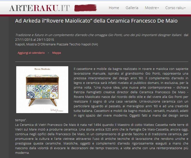 La Ceramica Francesco De Maio ad Arkeda2015 #roveremaiolicato su Arteraku