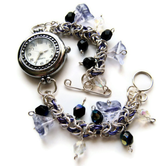 Chainmail and bead dress watch purple flower by Madmogjewellery