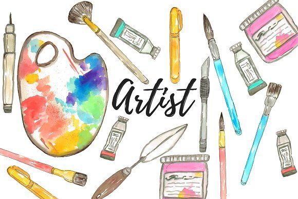 Watercolor Artist Art Supplies Clip Art In 2020 Clip Art Book