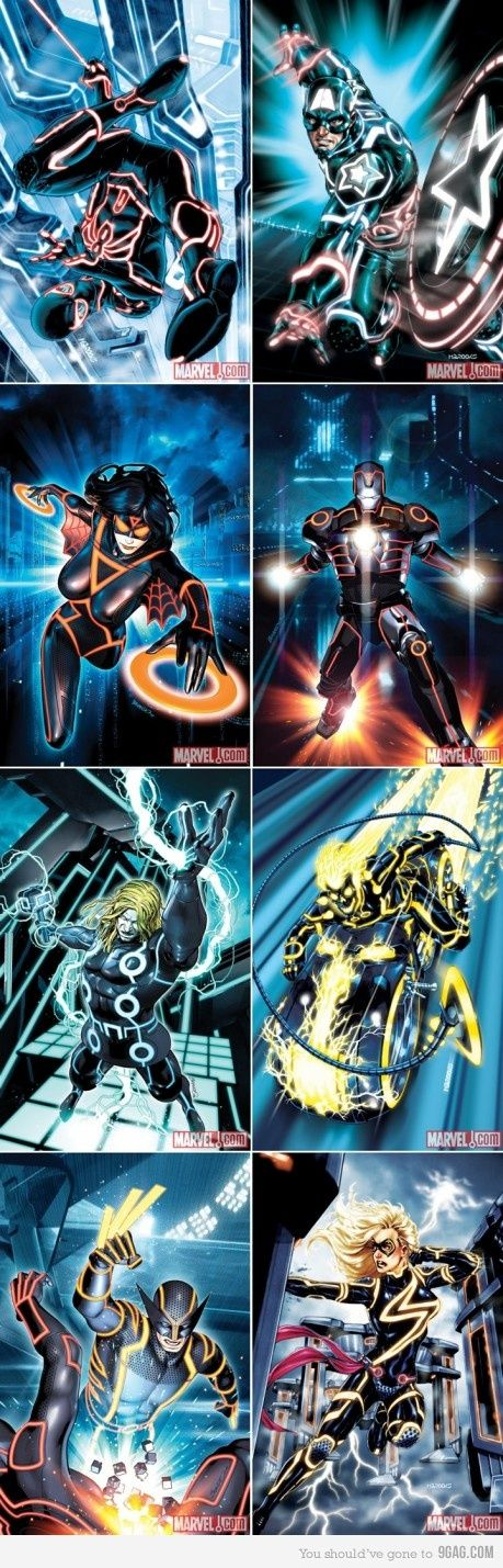marvel heroes tron-style
