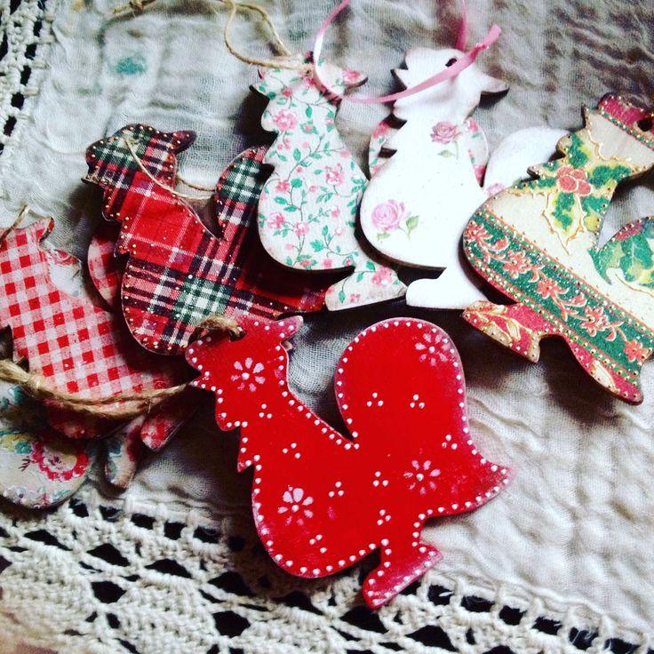 Купить Подвески новогодние Деревянные Петушки - символ года - Декупаж, Декор, Новый Год