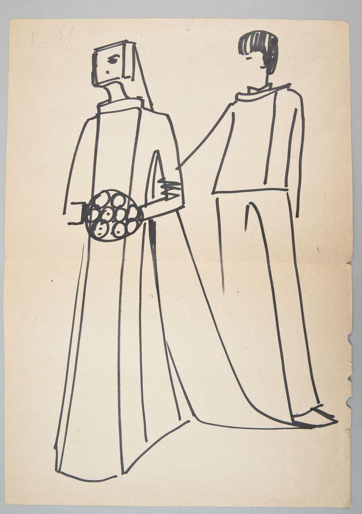 """Jerzy Anktowiak, Projekt sukni i garnituru ślubnego, Kolekcja """"Mody Polskiej"""" z 1965 roku, wł. MNK #PRL #Moda Polska #Polish fashion #Jerzy Antkowiak"""