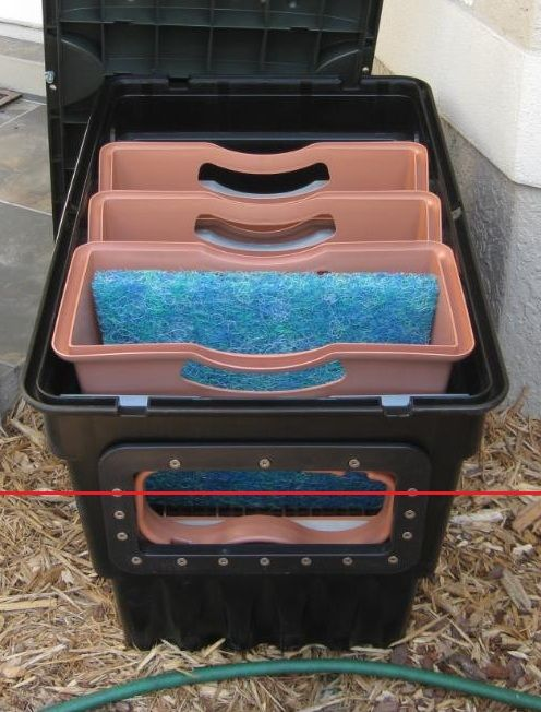 Diy filter box for pond google search backyard ponds for Homemade koi pond filter