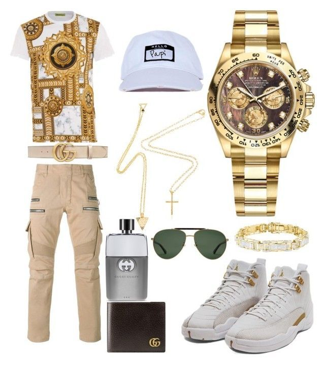 """""""Casual"""" by pitbull8382 on Polyvore featuring Balmain, Versace, Gucci, Rolex and Marco Ta Moko"""