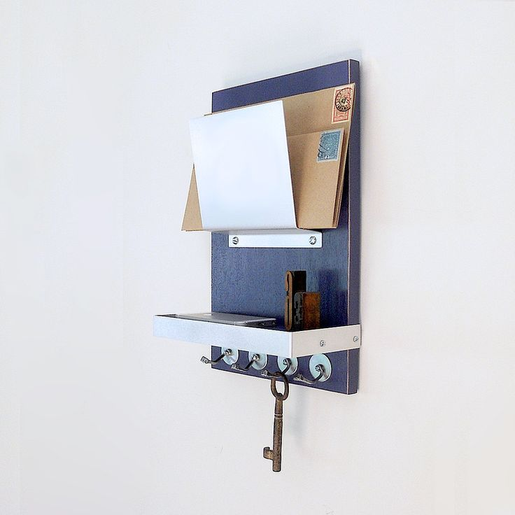 TOPAZ: single mail holder organizer wall hanging modern blue wooden home office organization shelf storage key holder hooks entry decor by PIGandFiSH on Etsy