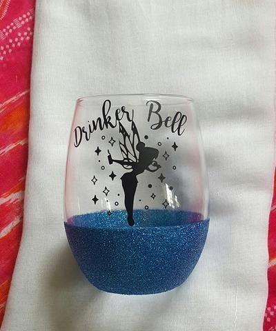 Drinker Bell Wine Glass, Glitter Dipped Disney Wine Glass