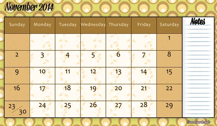 Free Printable November 2014 Calendar Doc