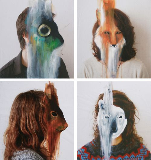 Painting by Charlotte Caron - people as animals