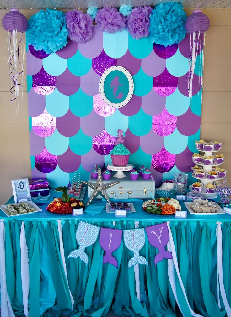 Mermaid party table decorations| Under the sea birthday party| Mermaid birthday day party| food