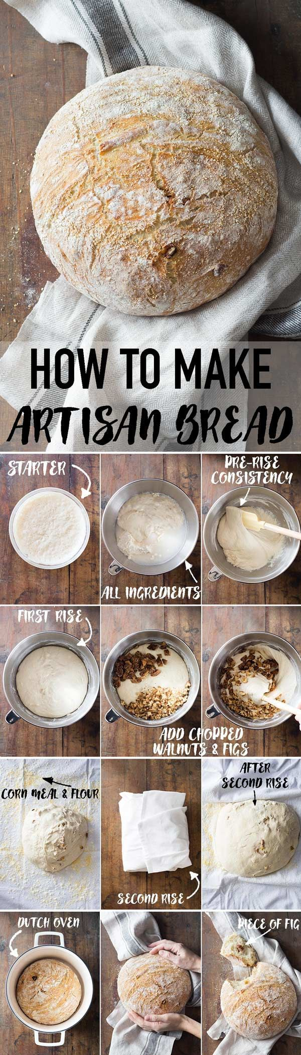 The most detailed step by step instructions on how to make Artisan Bread. Add whatever nuts and dried fruit you like to give it a personal spin. I made mine a Walnut Fig Artisan Bread. Spread some goat cheese on a piece and fly to HEAVEN! #bread #artisanbread #breadbaking #healthybread via @greenhealthycoo