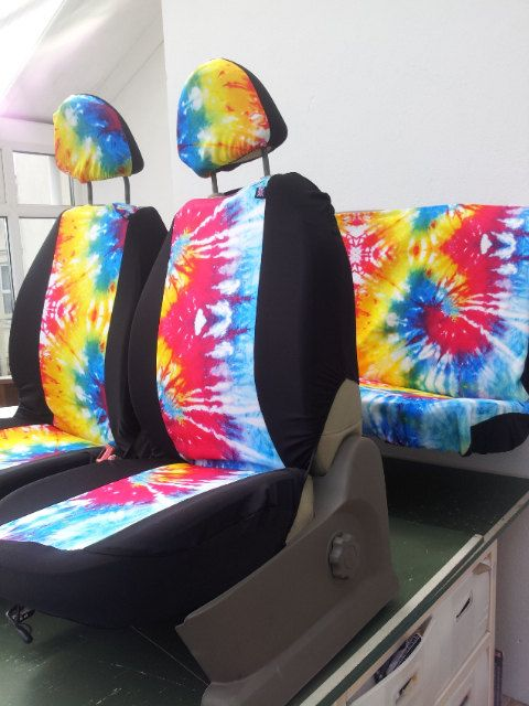Set Of Car Seat Covers Front And Rear TYE DYE English Print Fabric