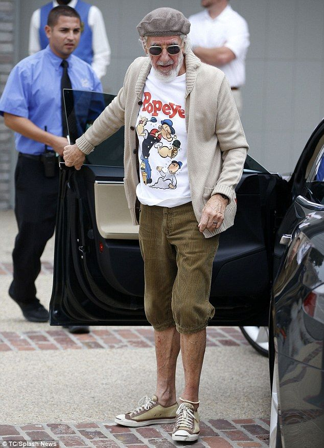 Entertainment legend: Lou Adler arrived at the party wearing knickers and a Popeye T-shirt...