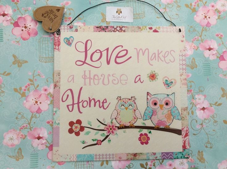 SASS AND BELLE LOVE MAKES A HOUSE A HOME OWL METAL PLAQUE SIGN NEW GIFT WEDDING
