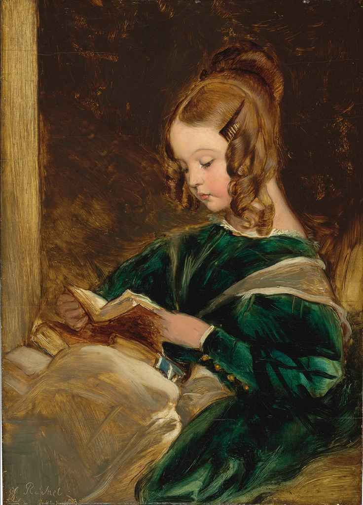 Sir Edwin Henry Landseer. English (1802 - 1873) Study of Rachel in a green dress, reading a book,