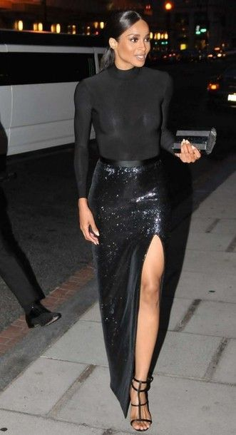 Ciara Black Sequin Maxi Skirt with Slit