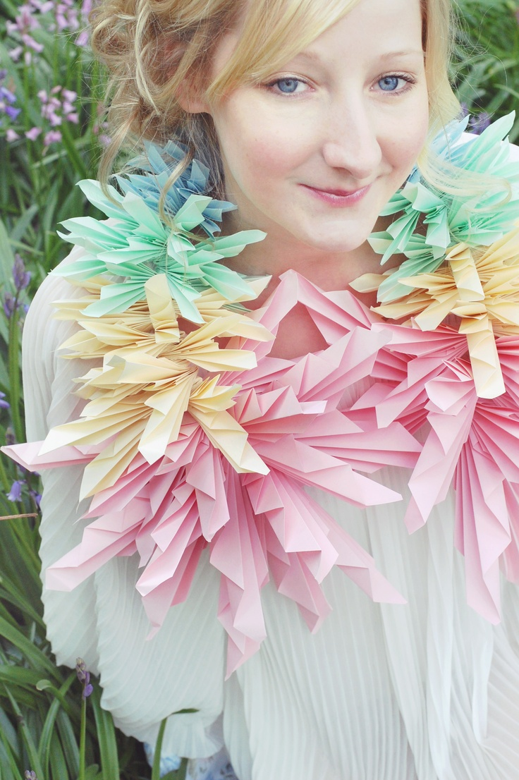 Over sized Pastel Neck piece  Hand folded paper neck piece designed to create an impact and capture peoples imagination!   Photographer - Annabella Whispers Photography    www.justlucy.bigcartel.com