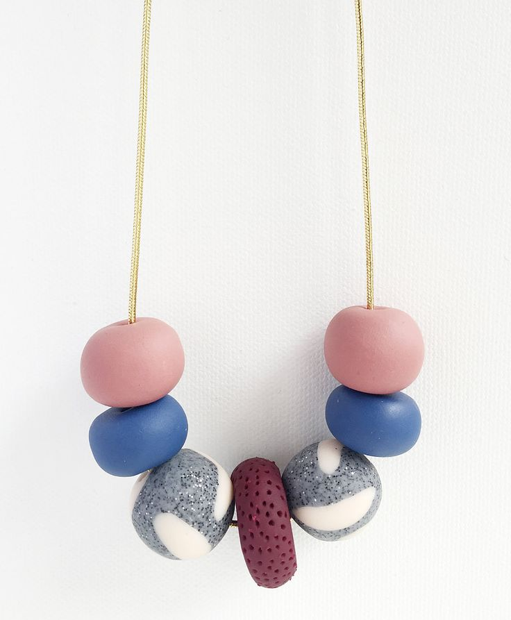 LULU - 7 Bead Polymer Clay Necklace with Gold Cord by HenandSole on Etsy