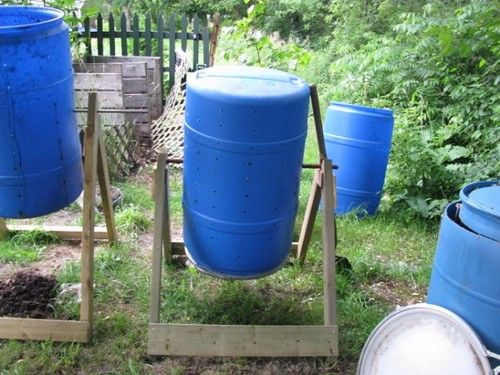 Compost Tumbler by  -- Homemade compost tumbler constructed from a 55-gallon plastic drum and lumber. http://www.homemadetools.net/homemade-compost-tumbler-13