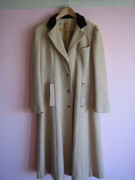 Vintage Long Wool Coat, Western Victorian Duster. Oatmeal M/L