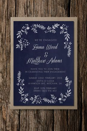 RM Creative offers the unique printable Rustic Foliage Engagement party Invitation. This elegant invitation is the perfect fit for a rustic or vintage