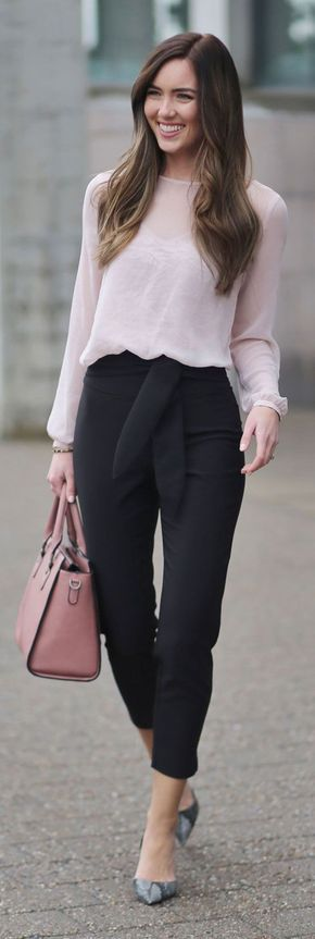 THE MOST PERFECT TROUSERS AND SHEER LACE TOP! All affordable under $50 and all from Dynamite Clothing! Perfect for work or date night/night out - pink and black affordable outfit. #fashion #fashionblogger #affordable #workoutfit Marie's Bazaar