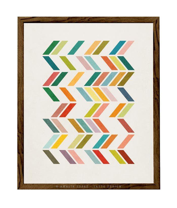 Slanted 3. Geometric art Mid century print by Amalia Lopez - Latte Design